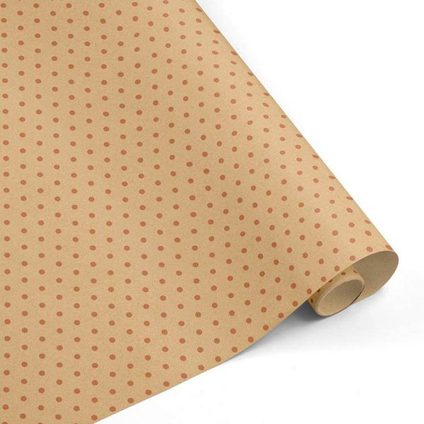 Rollo Papel de regalo KRAFT Clásico • Topos • Cobre-Marrón ocre–mkp
