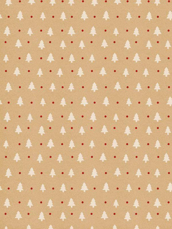 Rollo Papel de regalo KRAFT Navidad • Abetos Blancos • Blanco-Rojo-Marrón ocre