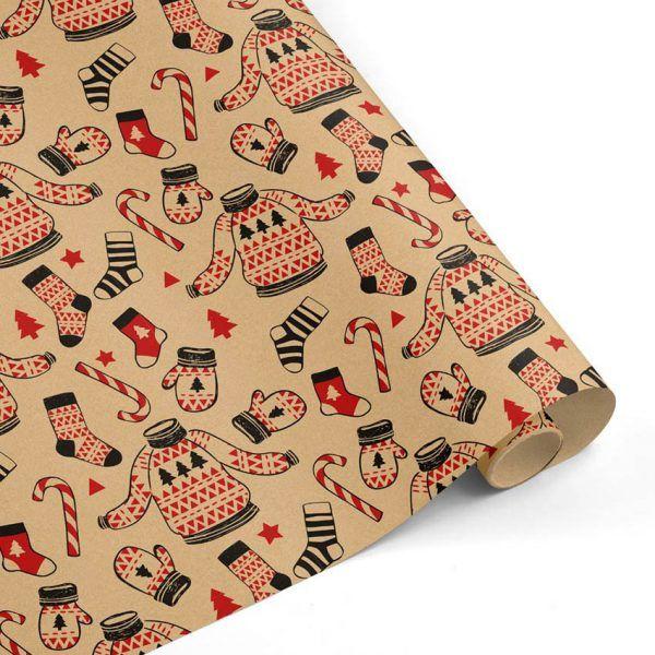 Rollo Papel de regalo KRAFT Navidad • Jersey y Manoplas • Rojo-Negro-Marrón ocre–mkp