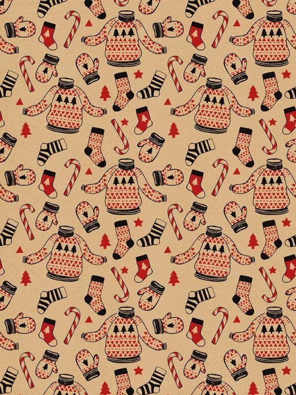 Rollo Papel de regalo KRAFT Navidad • Jersey y Manoplas • Rojo-Negro-Marrón ocre