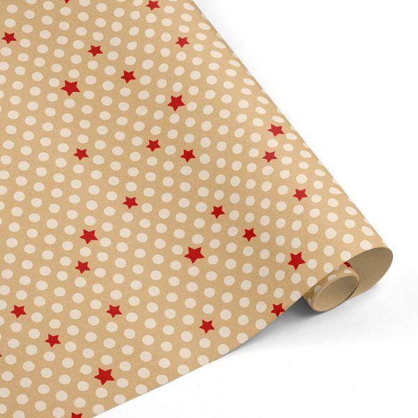 Rollo Papel de regalo KRAFT Navidad • Puntos y Estrellas • Rojo-Blanco-Marrón ocre–mkp