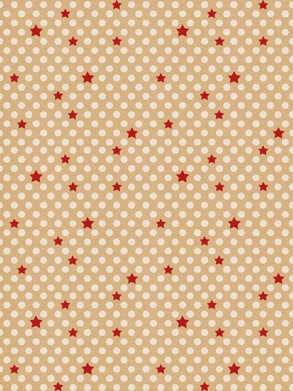 Rollo Papel de regalo KRAFT Navidad • Puntos y Estrellas • Rojo-Blanco-Marrón ocre
