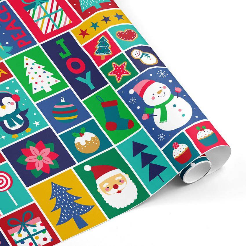 Rollo Papel de regalo NAVIDAD • Viñetas iconos navideños • Multicolor2