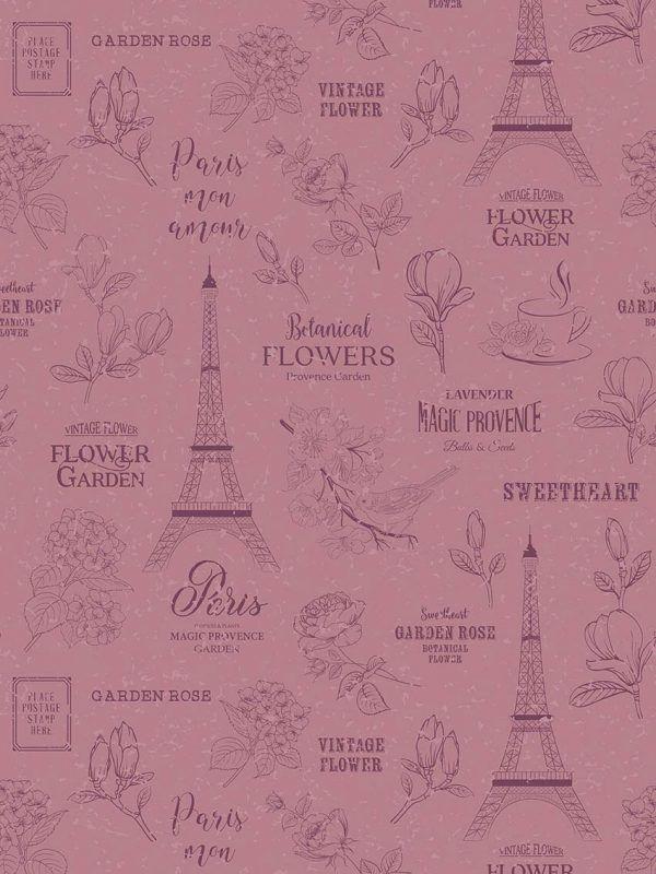 Rollo Papel de regalo TRENDY • Torre Eiffel • Rosa secuoya-Berenjena