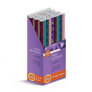 50 Rollos de papel de regalo CLÁSICO C2 • 70cm x 200cm • Incluye Expositor-2021