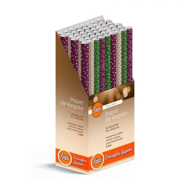 50 Rollos de papel de regalo KRAFT Clásico • 70cm x 200cm • Incluye Expositor-2021
