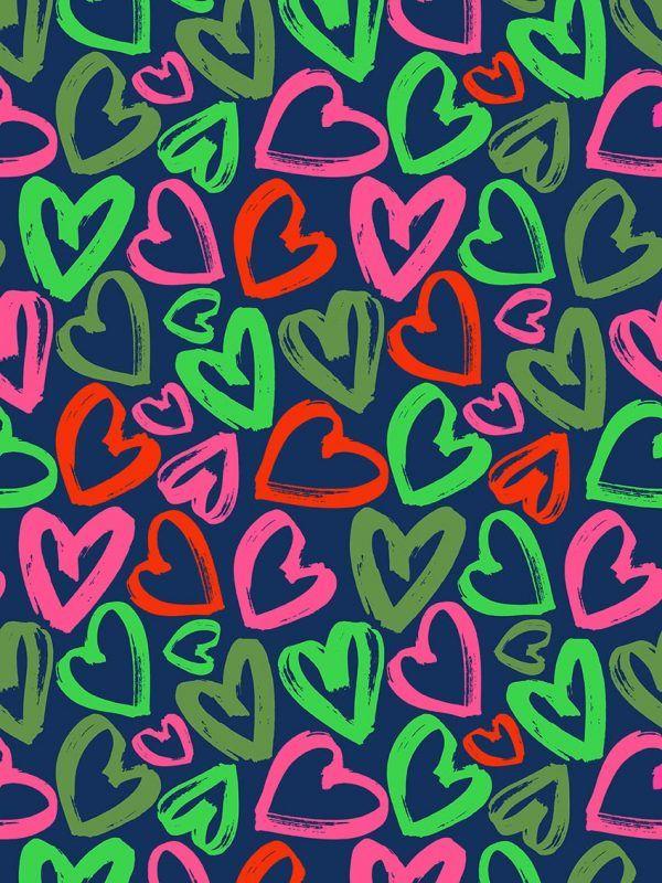 Bobina Papel de regalo CLASSIC • Corazones • Azul oscuro, Rosa, Verde, Rojo • 62cm y 31cm x 100m