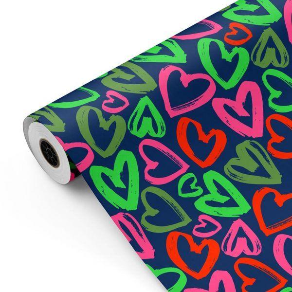Bobina Papel de regalo CLASSIC • Corazones • Azul oscuro, Rosa, Verde, Rojo • 62cm y 31cm x 100m-mckp